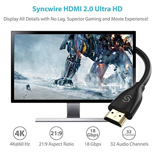 Syncwire HDMI 2.0 Cable (4K@60 Hz) - 6.5 Ft [High Speed, Gold-Plated] HDMI to HDMI Cord, Supports 4K, UHD, FHD, 3D, Ethernet, Audio Return Channel for Fire TV/Apple TV/HDTV/Xbox/PS4/PS3 and More