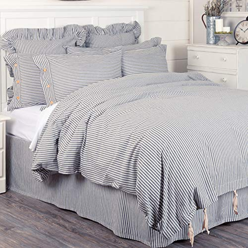- Piper Classics Farmhouse Ticking Stripe Duvet Cover Bedding, Navy Blue & Off-White, Queen 92x92, Comforter Cover w/Twill Ties, Soft, Comfortable, Farmhouse Bedroom Decor