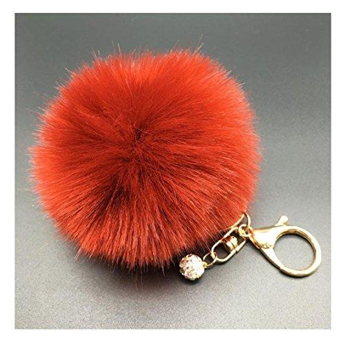 Fullkang Cute Rabbit Fur Ball Keychain Bag Plush Car Key Ring Pendant (06#)