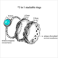 by lucky New Antique 925 Silver Turquoise Birthstone Stackable Ring Set Wedding Party (8)