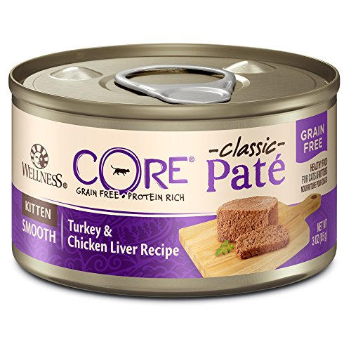 (Wellness Core Natural Grain Free Wet Canned Cat Food, Kitten Turkey & Chicken Liver, 3 Oz Can - 12-Pack)