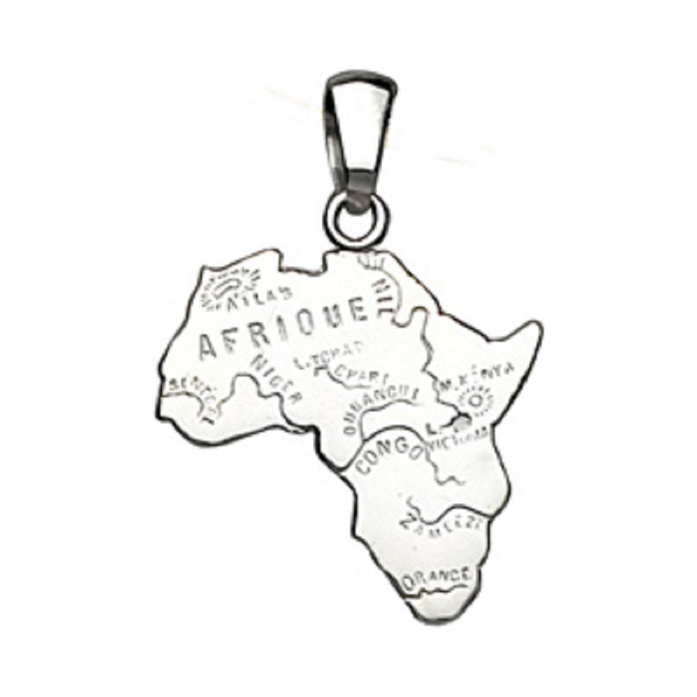 Helios Bijoux Anhänger in Landkartenform von Afrika-Silber 925 rhodiniert 3 g