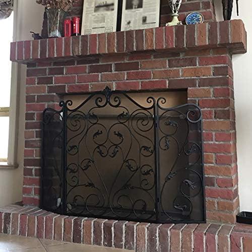 暖炉スクリーン ヘビーデューティ 折り畳み 暖炉スクリーン スクロールデザインで、 3-パネル 錬鉄 ファイアースクリーン スパークガード 屋内/屋外用 背の高い36インチ (Color : Black)
