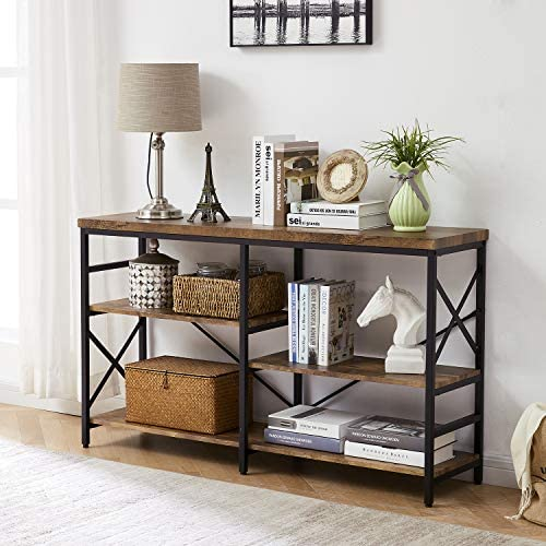 OIAHOMY Industrial Sofa Table,Console Table,3-Tier Industrial Rustic Hallway Entryway Table,Easy Assembly,for Entryway, Living Room Rustic Brown