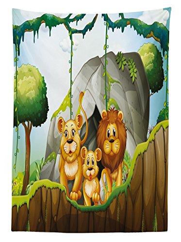 Lunarable Forest Outdoor Tablecloth, Lion Family in The Jungle Woods King Zoo Nursery Illustration, Decorative Washable Picnic Table Cloth, 58 X 84 inches, Apricot Chocolate Hunter Green by Lunarable (Image #1)