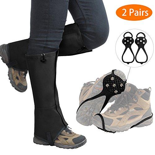 Ice Grips Snow Legs Gaiters Set - Waterproof Snowproof Dustproof Legs Cover Breathable Legs Wraps ( 2017 Improved Design )(2 Pairs)