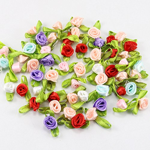 48pcs 8mm Rosette Satin Ribbon Flower Head Girls Boutique Mini Hair Bow Clips Barrettes