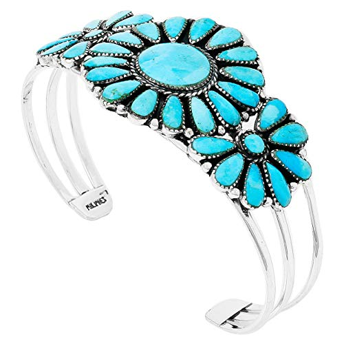 (Southwest Style Genuine Turquoise 925 Sterling Silver Cluster Bracelet (Turquoise))