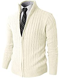 Mens Slim Fit Cardigan Sweaters Long Sleeve Knitted Thermal with Twist Patterned