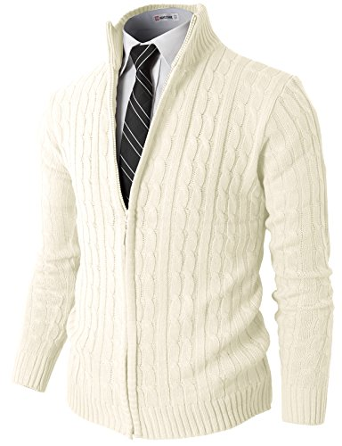 H2H Mens Slim Fit Full-Zip Kintted Cardigan Sweaters with Twist Patterned White US S/Asia M (KMOCAL032) (Front Zip Cardigan)