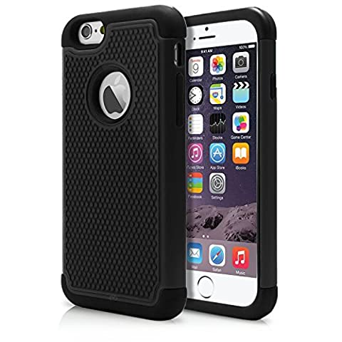iPhone 6 Case, MagicMobile Rugged Dual Durable Armor Case for iPhone 6 Impact Resistant Shockproof Double Layer Hard Shell Case with Soft Flexible Black Silicone Skin Cover [ Color: Black ] (Compatible Only with iPhone 6 (Iphone 6 Case Armor Rugged Black)