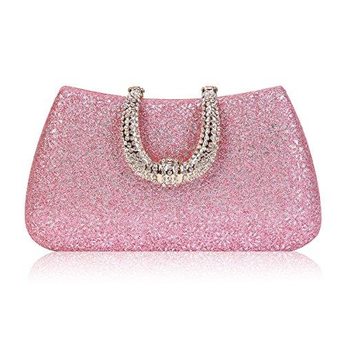 Damara Womens Rhinestones Clasp Hardcase Embossed Evening Party Bag,Pink ()