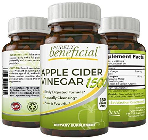 Cheap Organic Apple Cider Vinegar 1500mg- Raw, Non-GMO, Extra Strength, 180 Capsules, Vegetarian