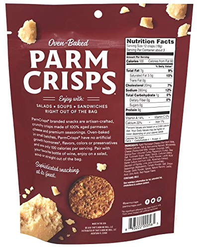 ParmCrisps Brick Oven Pizza Cheese Crisps - Keto Friendly, Gluten Free, 1.75 Ounce Bag Pack of 3 with Tru Inertia Sugar by Tru Inertia (Image #1)