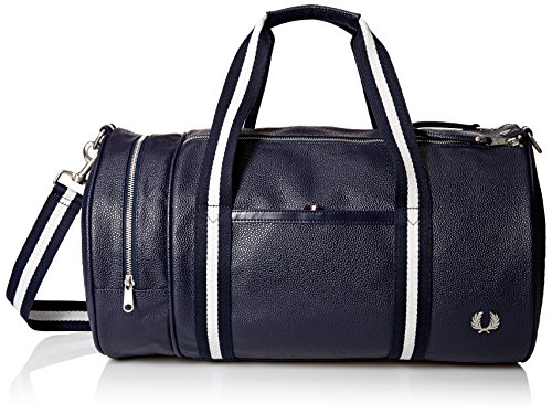 Traditional Barrel Bag (Fred Perry Men's Textured Barrel Bag, Grain Navy)