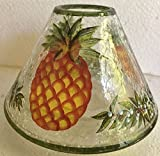 Yankee Candle Large PINEAPPLE Crackle Glass Jar Shade Candle Topper