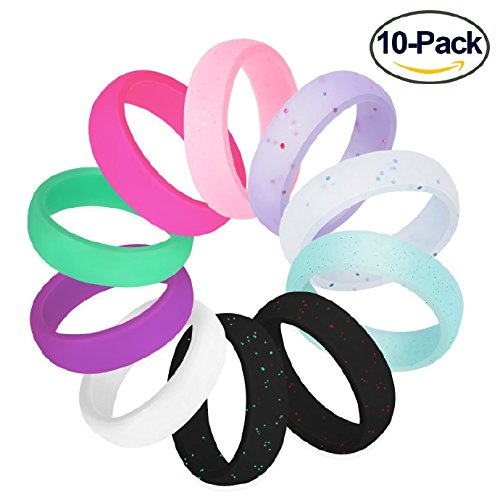 Fynix Silicone Wedding Ring For Women  10 Pack Premium Medical Grade Wedding Bands Thin And Stackable Durable Comfortable Antibacterial Rubber Rings  Black White Pink Silver