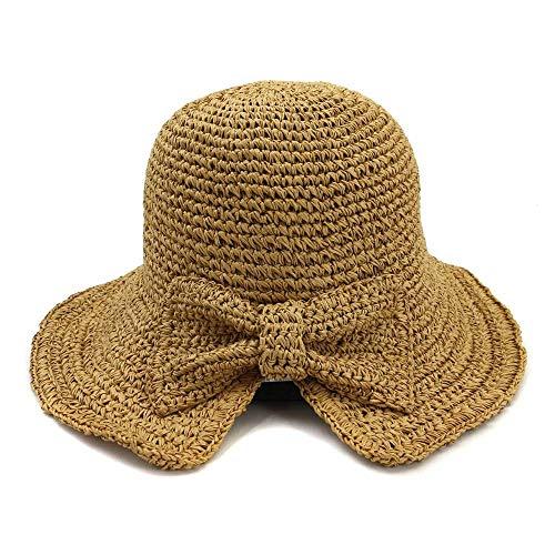 HUOYUJIE Handmade Crochet Bow Straw hat Female Outdoor Sunscreen Big fold Folding Beach hat Sun Visor (Color : - Handmade Bow Crochet