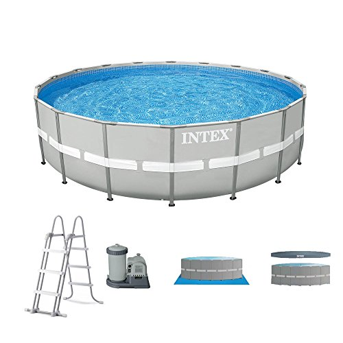 Intex 20' x 48'' Ultra Frame Above Ground Swimming Pool Set w/ Pump and Ladder by Intex