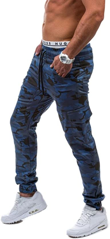 X-Future Mens Casual Multi Pockets Elastic Waist Contrast Jogging Cargo Pants