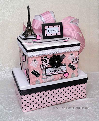Paris French Sweet 16 Quinceanera Birthday Card Box, Handmade, two tiers, polka dots, pink, black, allthebestcardboxes, holds 60 cards -