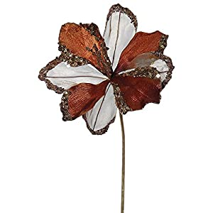 "VCO Pack of 3 Chocolate Amaryllis Flowers with Glitter and Sequins Artificial Floral Stems 20"" 23"