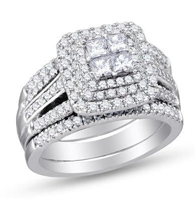 Amazoncom 14K White Gold Princess and Round Cut Diamond Bridal