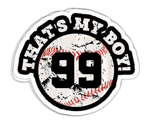 chillylkst Thats My Boy #99 Baseball Player Mom or Dad Gift - 4x3 Vinyl Stickers, Laptop Decal, Water Bottle Sticker (Set of 3)