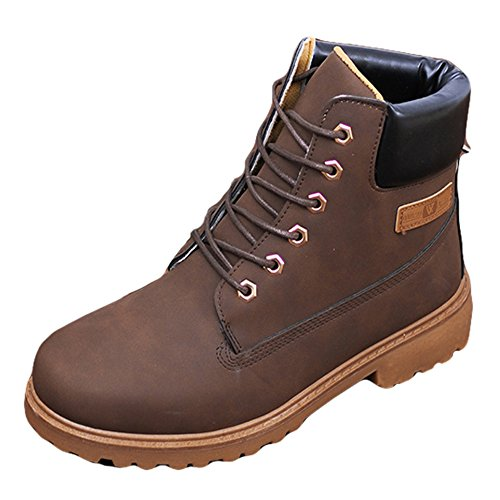 Work Up Women Lace Leather Shoes High Top Warm Boot Combat Ankle Suede Blivener Boot Brown xTZ7qAgFw