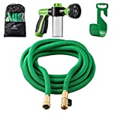 Garden Hose,Sosoon Expanding Extra Strength Stretch Material Water Hose with All Brass Connectors - Bonus 8 Way Spray Nozzle,Dish Soap Liquid Detergent Container, Carrying Bag and Hanger (50 Feet)
