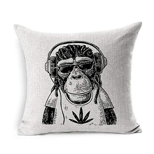 Ahawoso Linen Throw Pillow Cover Square 20x20 Ape Monkey Headphones Sunglasses Paw Dressed Animals Wildlife Engraved Vintage Draw Human Dreadlocks Face Black Pillowcase Home Decor Cushion Pillow ()