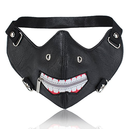 Steampunk Rivets Motorcycle Biker Ice Hockey Cycling Winter Face Wear Masquerade Mask (Black Graffiti) -