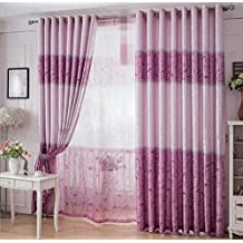 GFYWZ Cotton and linen Printing Jacquard Curtains Bedroom living room Semi shading Pleat Modern simplicity Window Drapes Yarn , 2 , C