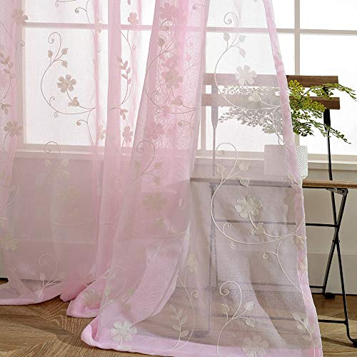 AliFish Home Decor Sheer Curtains Elegance Voile Curtain Delicate Sheer Curtain Floral Leaves Embroidered Curtains Faux Linen Curtains Rod Pocket Curtains for Girls Room W39 x L63 inch