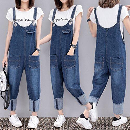 Wide Leg Donna Tuta Blu Denim Larghi Jeans Dungarees Casuale Harem Wenchuang Pantaloni Playsuit THUO1Hq