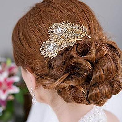 EVER FAITH Womens Austrian Crystal Wedding Bridal 2 Peacock Feather Hair Comb Clear