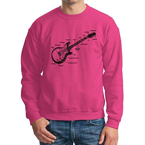 HAASE UNLIMITED Men's Anatomy of A Guitar Crewneck Sweatshirt (Pink, Large)