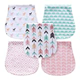 5-Pack Baby Burp Cloths for Girls, Triple Layer, 100% Organic Cotton, Soft and Absorbent Towels, Burping Rags for Newborns Baby Shower Gift Set by MiiYoung (Woodland)