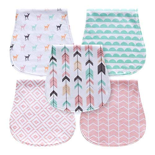 5-Pack Baby Burp Cloths for Girls, Triple Layer, 100% Organic Cotton, Soft and Absorbent Towels, Burping Rags for Newborns Baby Shower Gift Set by MiiYoung (Woodland) - Embroidered Baby Burp Cloth