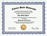 Library Libraries Degree: Custom Gag Diploma Doctorate Certificate (Funny Customized Joke Gift - Novelty Item)