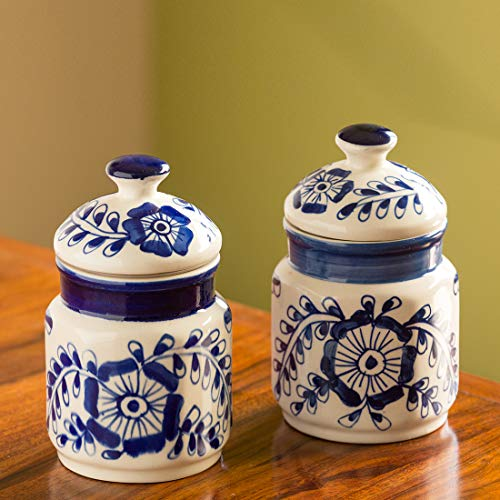 ExclusiveLane The 'Blooming Buds' Mughal Hand-Painted Ink Blue Multi Utility Storage Ceramic Jars (6.9