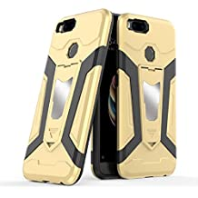 Xiaomi Mi 5X Case, Ranyi [3 Piece Full Body Armor] [Built-in Kickstand] [Shock Absorbing] Metal Texture Rugged Rubber 360 Protective 3 in 1 Case for Xiaomi Mi 5X / Mi A1 (gold)