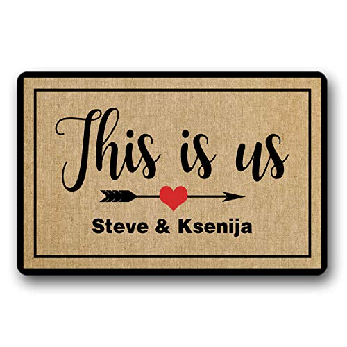 BrowneOLp This is us Doormat Name Custom Outdoor/Indoor Funny Doormat Floor Door Mat Non Slip Mats Bathroom Kitchen Decor Area Rug for Entrance 18 x 30 -