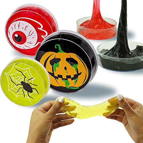 ChefSlime Fluffy & Stretchy Halloween Slime Putty | 3 Pack Stress Relief, Non Sticky, Super Soft & Squishy Fun Sludge Toy Kids Adults - Holiday Theme - Ideal Gift - 3 Pack
