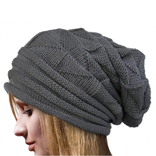 Women Fashion Winter Knit Hat,Crytech Warm Soft Stretch Ruched Crochet Wool Knitted Skully Beanie Cap Slouchy Baggy Long Knitting Skull Snow Ski Hat for Ladies Girls Outdoor (Grey)