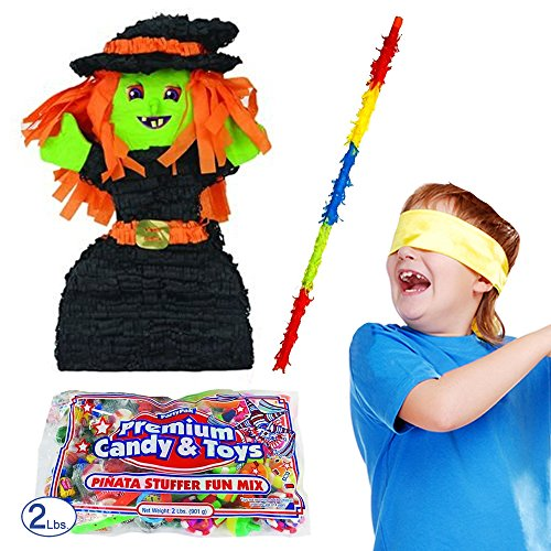 Pinatas Halloween Witch Pinata Kit, 2 lbs. Filler, Buster Stick and Bandana
