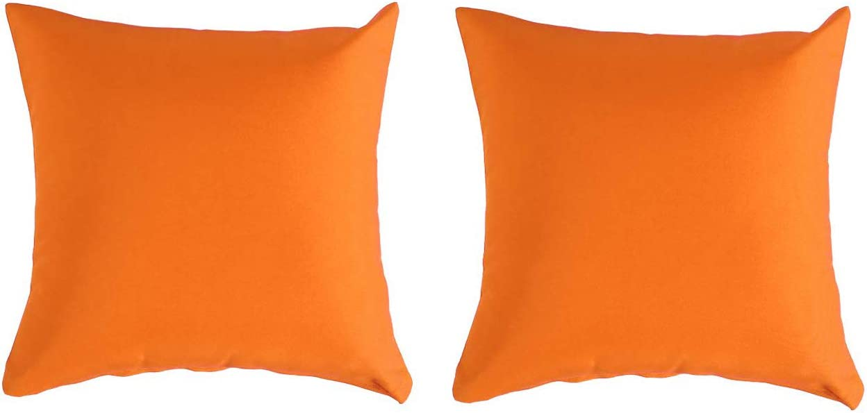 Furnimy Pillow Covers 18x18 inch Set of 2 for Farmhouse Decorative Throw with Zipper for Outdoor Sofa Orange
