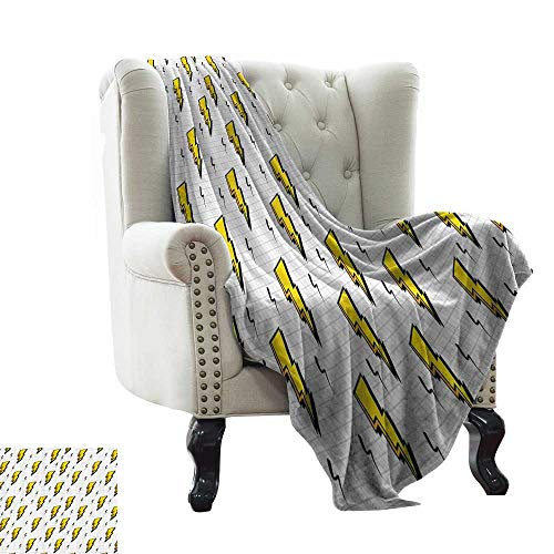 Vintage Decor Collection,Lightweight Blanket Retro Flash Electric Icons with Chequer Funky Lines Weather Batman Boom Pop Art Comic 70