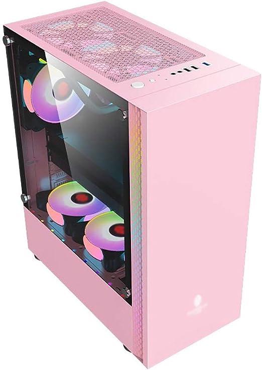 WSNBB Rosa ATX Semitorre Caja Gaming PC, Filtro De Polvo Magnético, El Panel Transparente Templado Completo del Lado del Cristal, E/S Frontal Puertos USB 3.0: Amazon.es: Hogar
