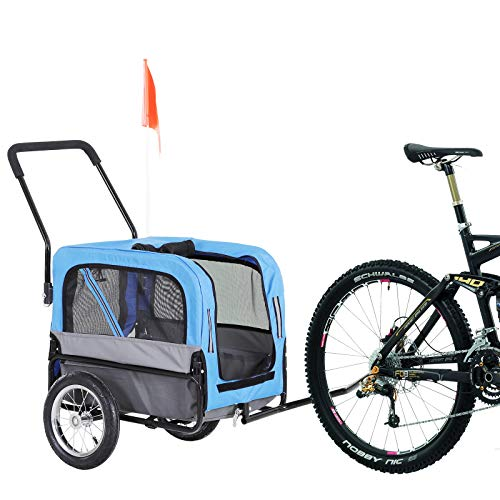 Aosom 2-in-1 3 Wheel Pet Jogging Stroller Bike Trailer – Blue/Grey